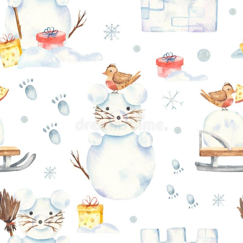Teste padrão sem emenda com bonecos de neve, trenó do inverno da aquarela, fortaleza da neve fotografia de stock royalty free