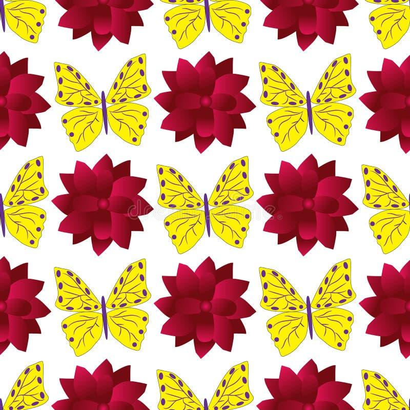 Teste padrão sem emenda com borboletas coloridas e as grandes dálias vermelhas ilustração royalty free