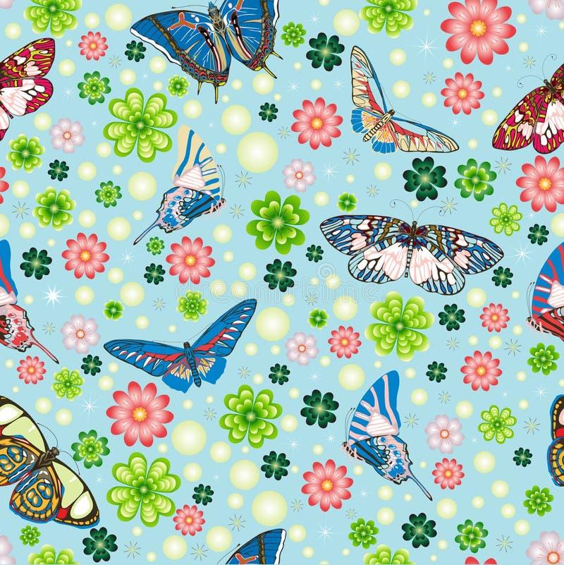 Teste padrão sem emenda com borboletas, flores ilustração stock