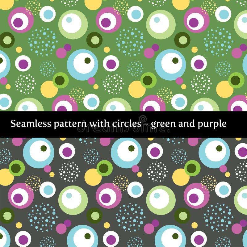 Teste padrão sem emenda com círculos no verde e no roxo ilustração royalty free
