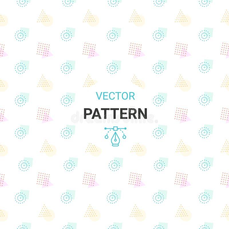 Teste padrão sem emenda com círculos, quadrado, triângulo e hexágono de cores frescas em um fundo branco ilustração royalty free