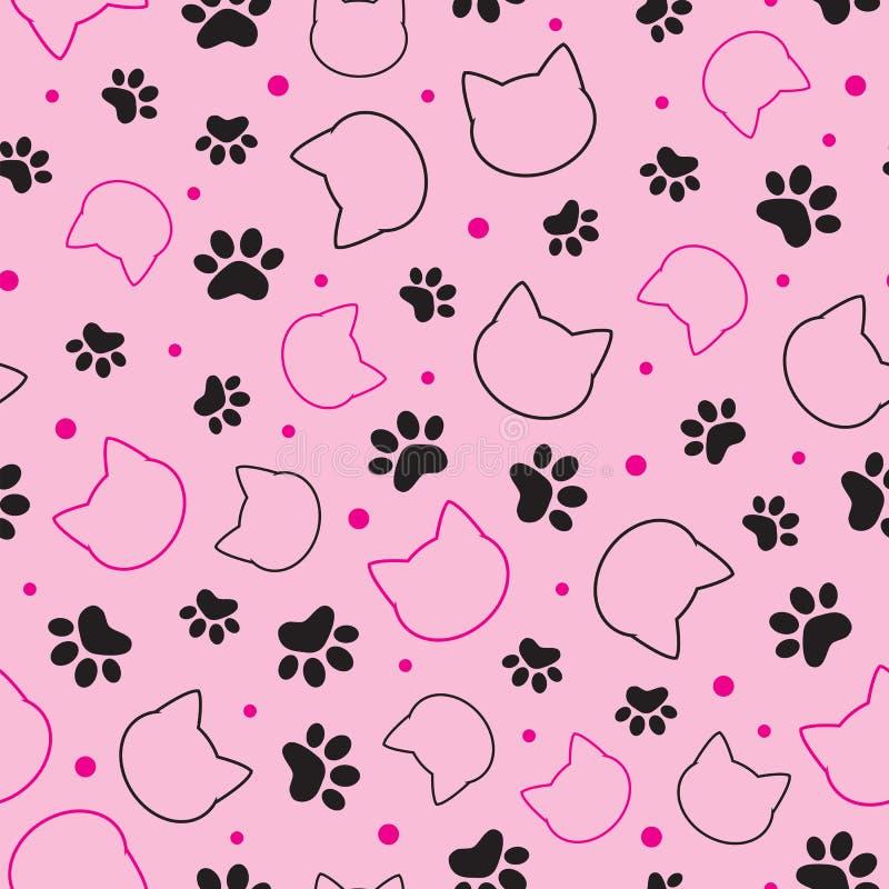 Teste padrão sem emenda com cabeça e pata do gato na ilustração cor-de-rosa do vetor do fundo ilustração do vetor