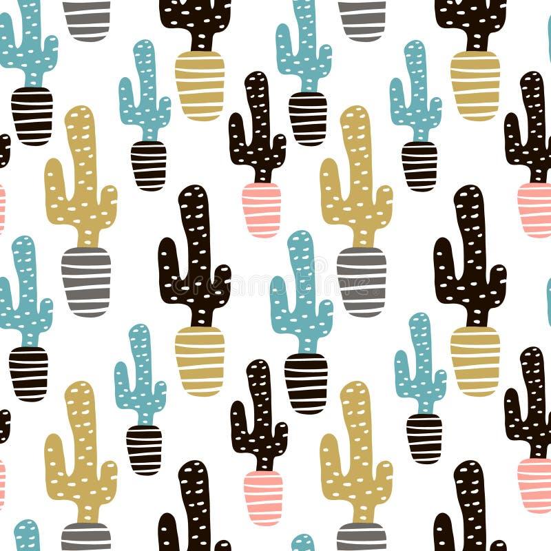 Teste padrão sem emenda com cactos e texturas tiradas mão Aperfeiçoe para a tela, matéria têxtil Fundo creativo do vetor ilustração royalty free