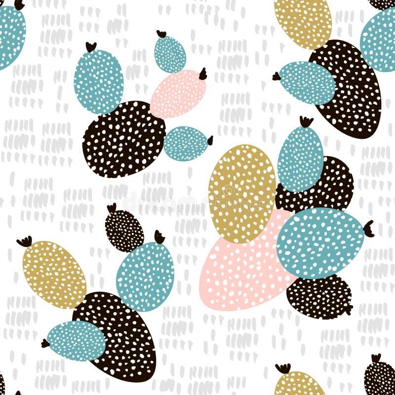 Teste padrão sem emenda com cactos e texturas tiradas mão Aperfeiçoe para a tela, matéria têxtil Fundo creativo do vetor ilustração stock