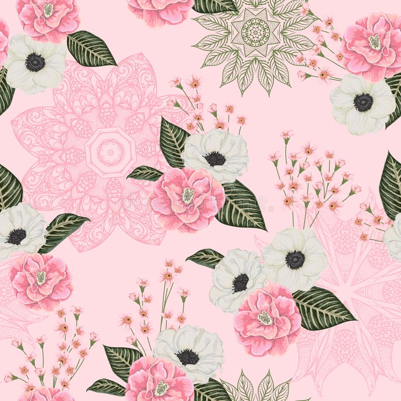 Teste padrão sem emenda com camélias cor-de-rosa, as flores brancas da anêmona, o alstroemeria e o ornamento do laço Fundo floral ilustração royalty free