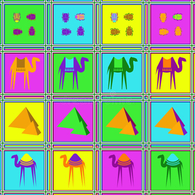 Teste padrão sem emenda com camelos, besouros e palmeiras ilustração royalty free
