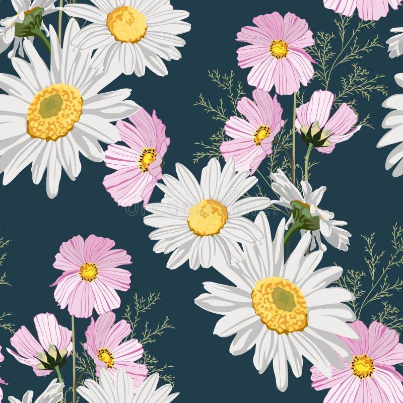 Teste padrão sem emenda com camomilas e as flores cor-de-rosa selvagens do outono com folhas ilustração do vetor