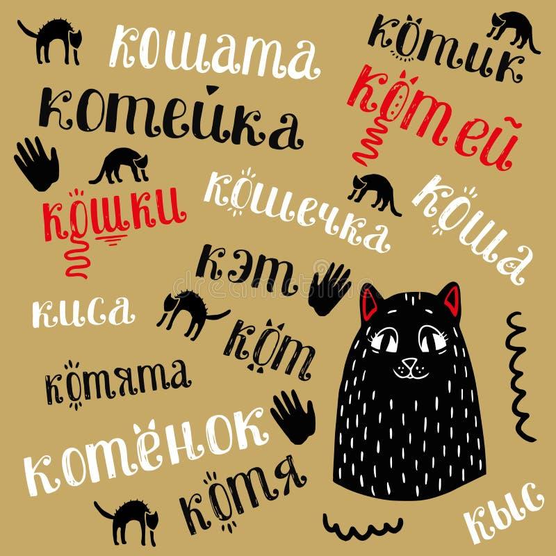 Teste padrão sem emenda com cara e letras do gato ao redor ilustração stock
