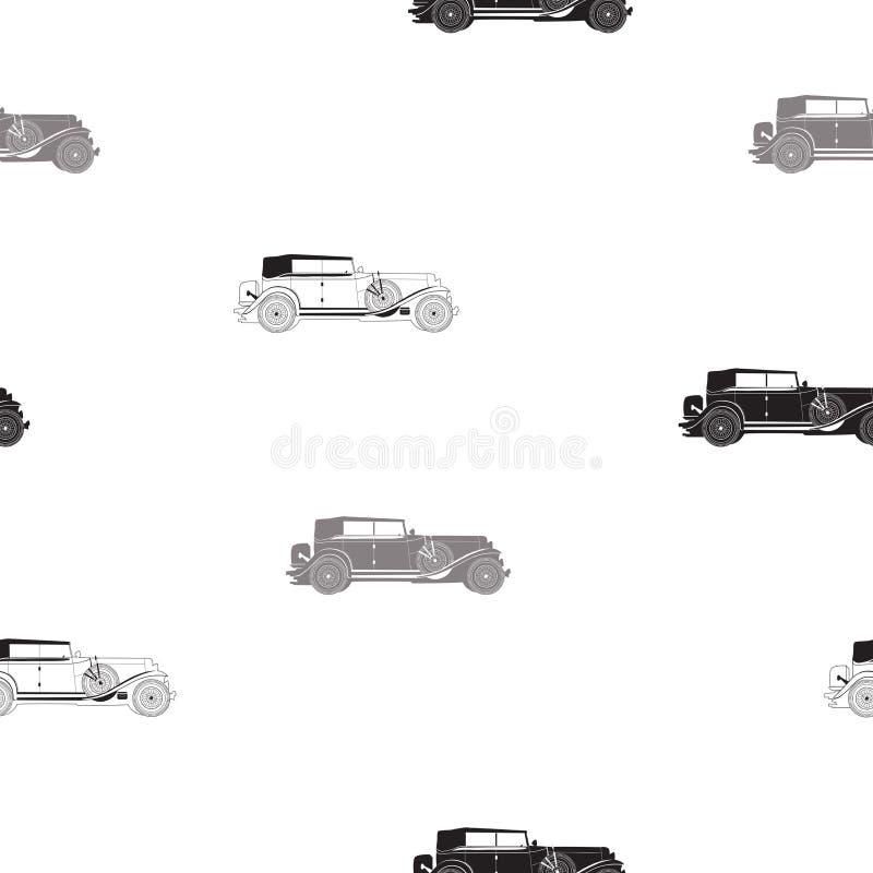 Teste padrão sem emenda com carro retro, teste padrão retro preto e branco, teste padrão sem emenda do vetor preto e branco com o ilustração do vetor