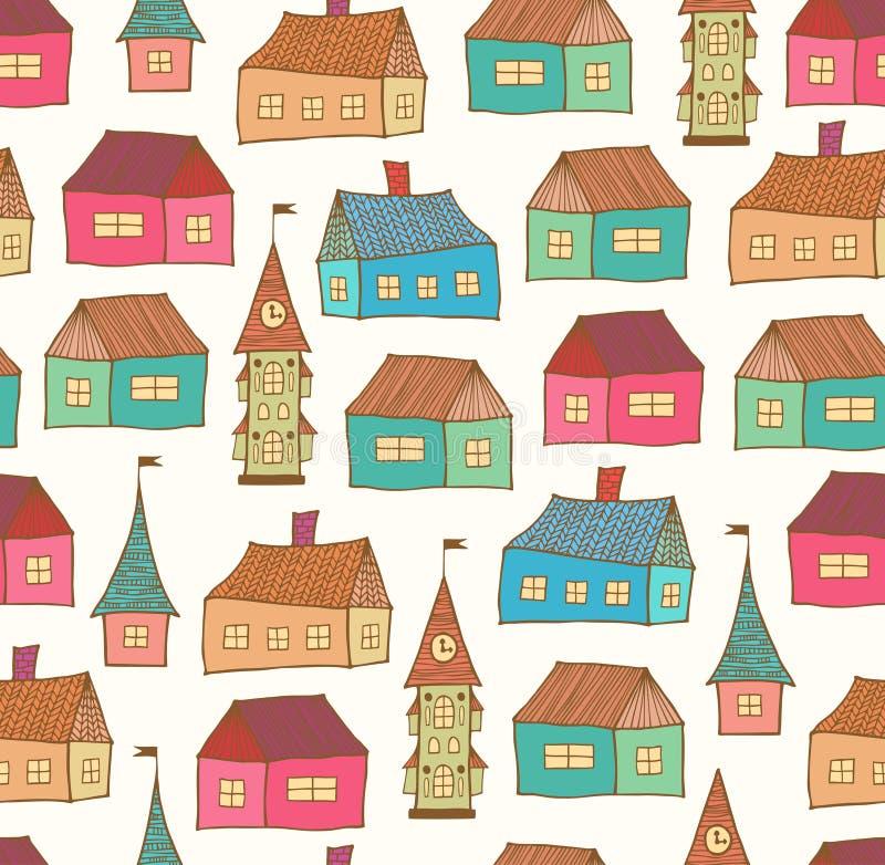 Teste padrão sem emenda com casas decorativas Fundo da cidade Molde tirado mão da cidade ilustração stock
