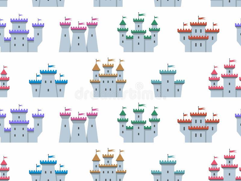 Teste padrão sem emenda com castelos e as fortaleza coloridos ilustração royalty free