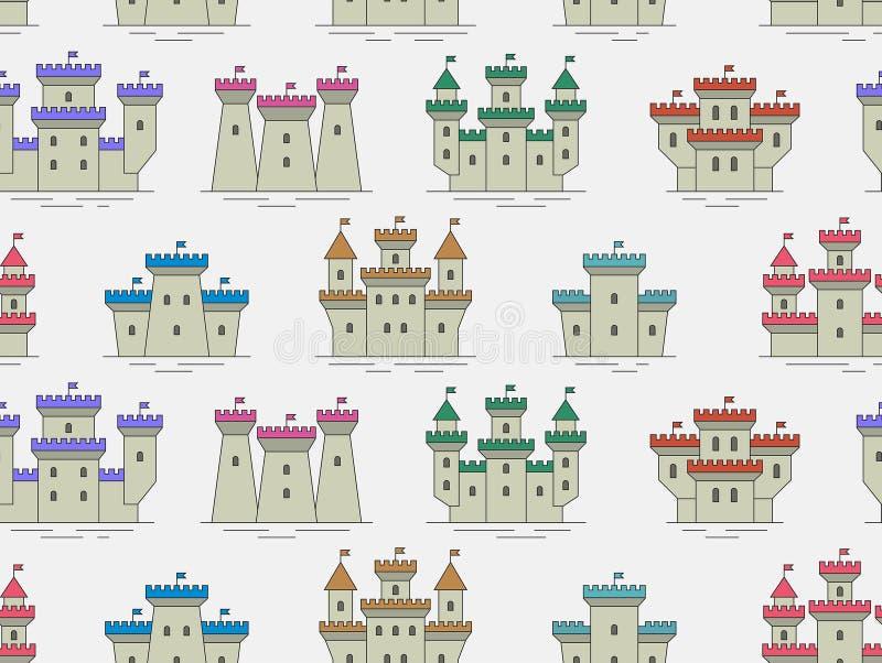 Teste padrão sem emenda com castelos e as fortaleza coloridos ilustração do vetor