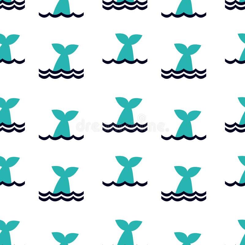 Teste padrão sem emenda com a cauda da baleia que espreita fora da água Cópia brilhante dos desenhos animados ilustração stock