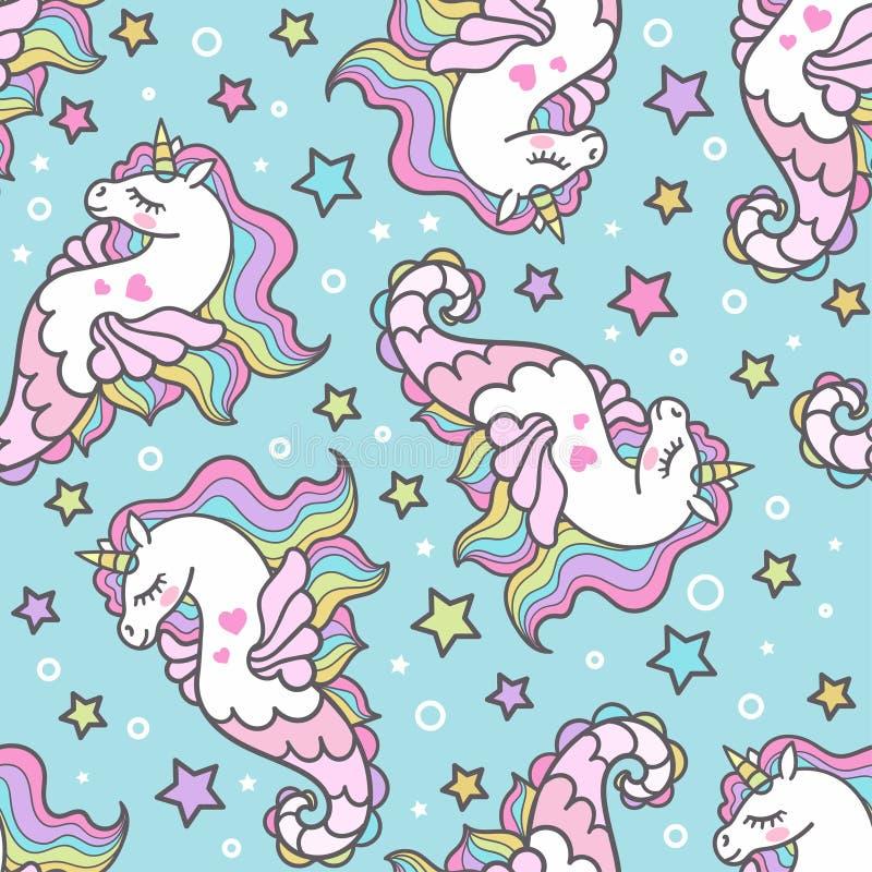 Teste padrão sem emenda com cavalos de mar em um fundo azul unicorn Vetor ilustração stock