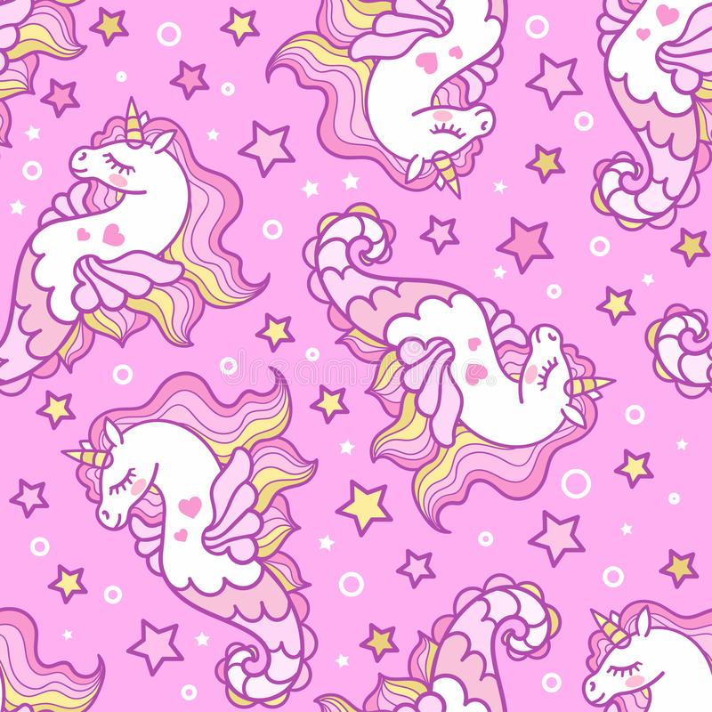 Teste padrão sem emenda com cavalos de mar em um fundo cor-de-rosa unicorn Vetor ilustração do vetor