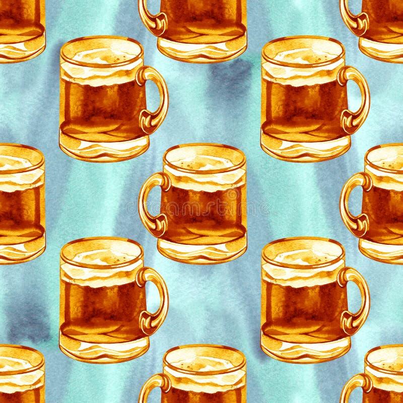 Teste padrão sem emenda com cerveja da aquarela Ornamento das bebidas do álcool Oktoberfest, molde do dia de St Patrick fotografia de stock royalty free