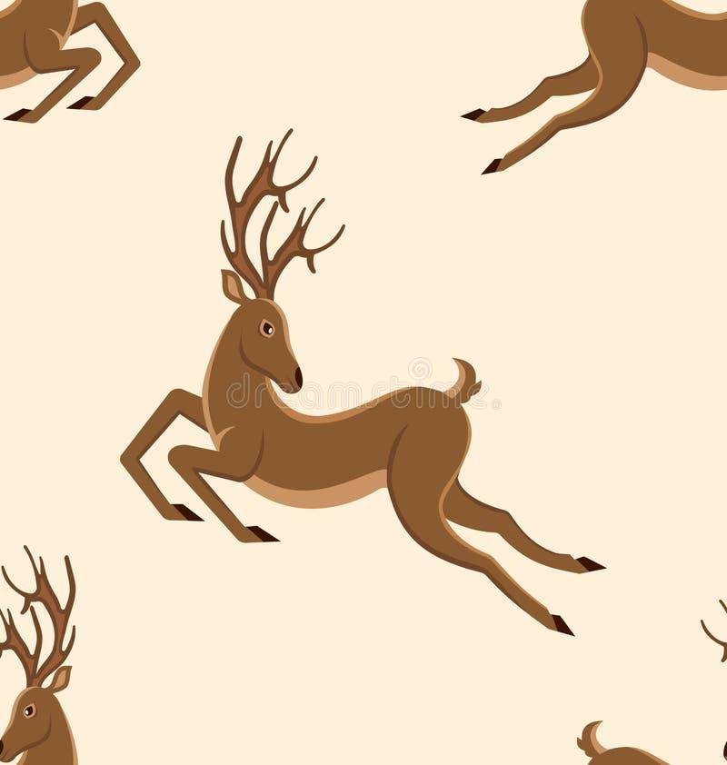 Teste padrão sem emenda com cervos de salto, textura retro com veados moventes ilustração royalty free