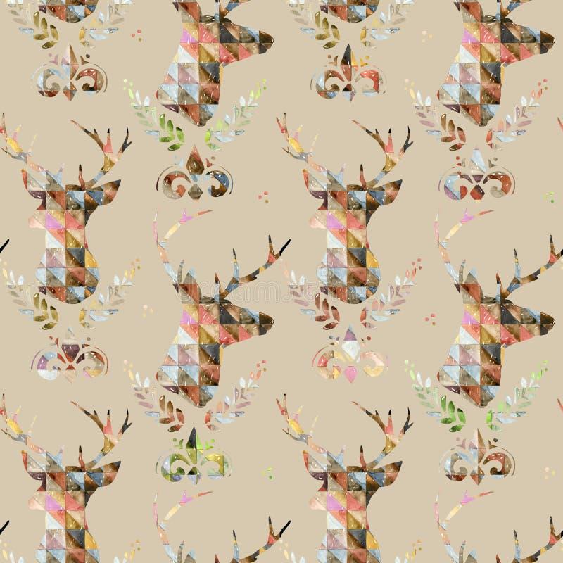 Teste padrão sem emenda com cervos Ilustração dos cervos ilustração stock