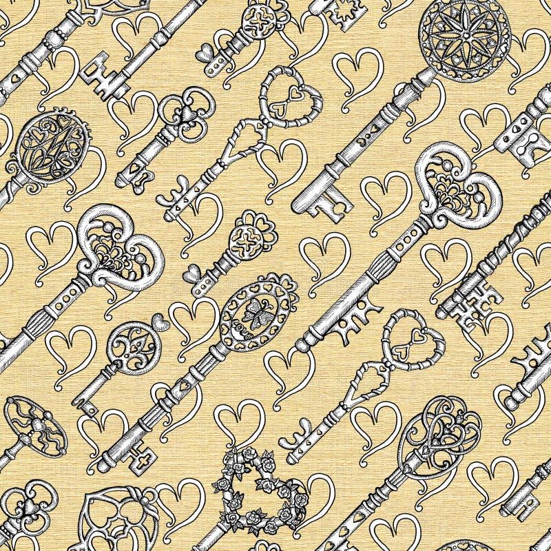 Teste padrão sem emenda com chaves e corações velhos do vintage no fundo da textura ilustração do vetor