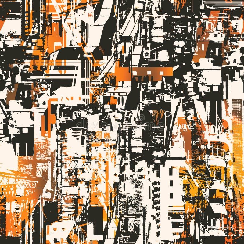Teste padrão sem emenda com a cidade urbana abstrata ilustração royalty free