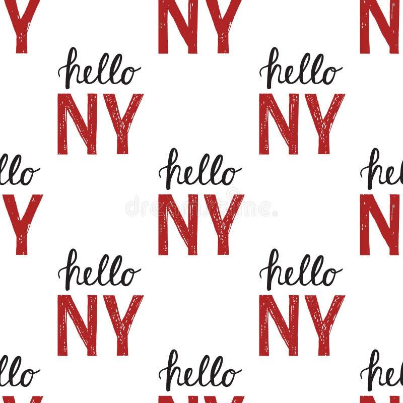 Teste padrão sem emenda com citações olá! NY New York do vintage ilustração stock