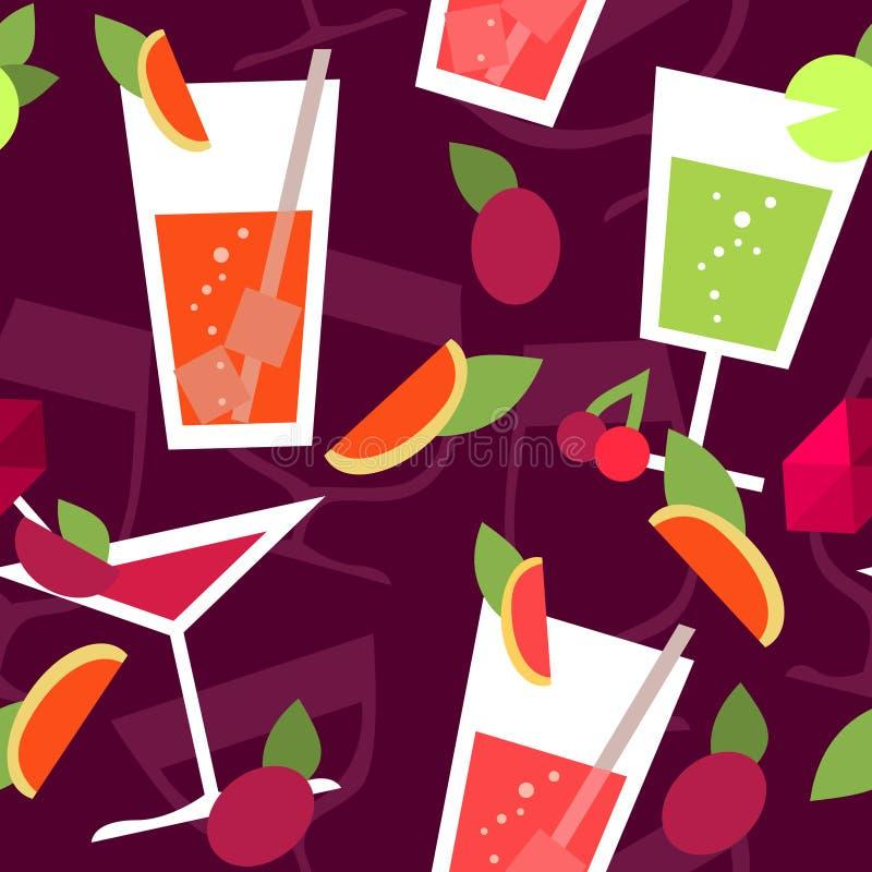 Teste padrão sem emenda com cocktail diferentes ilustração stock