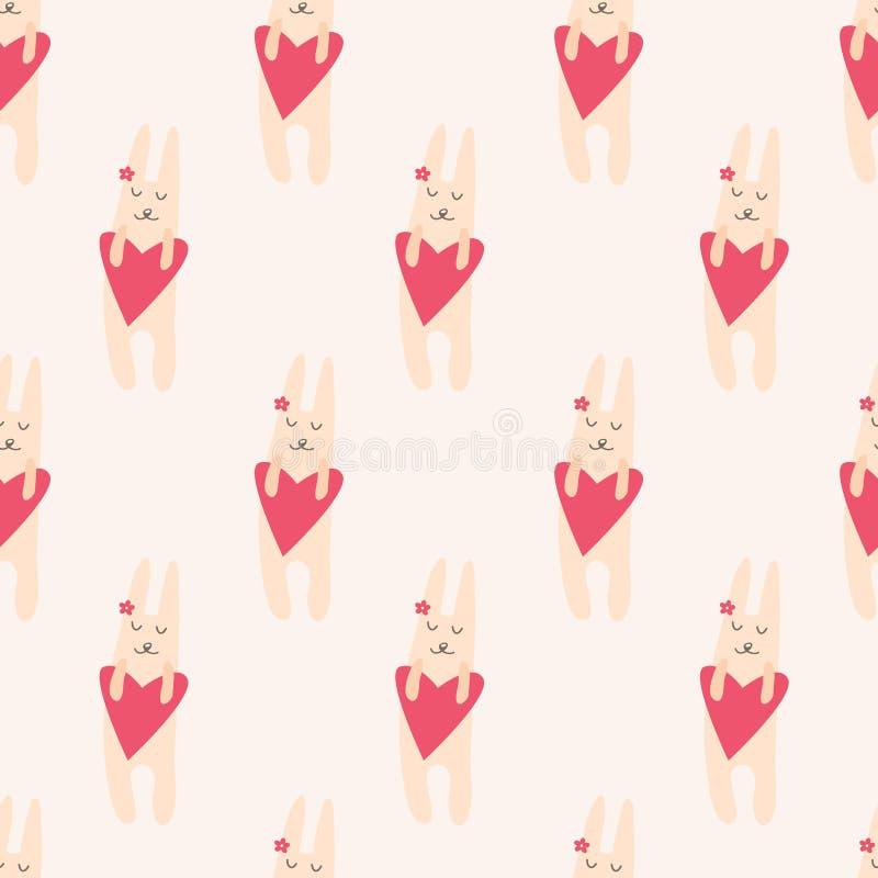 Teste padrão sem emenda com coelho bonito ilustração stock