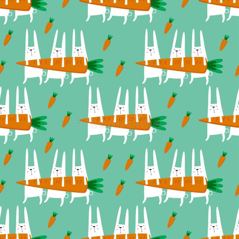 Teste padrão sem emenda com coelhos e cenouras ilustração stock