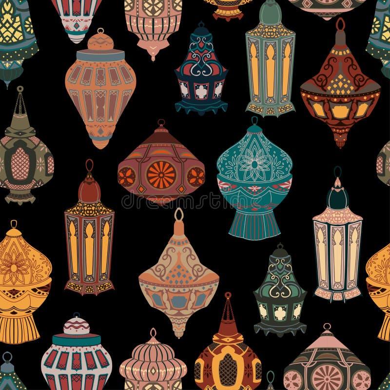 Teste padrão sem emenda com coleção árabe das lanternas Lâmpadas orientais tradicionais com o ornamento floral nacional ilustração royalty free