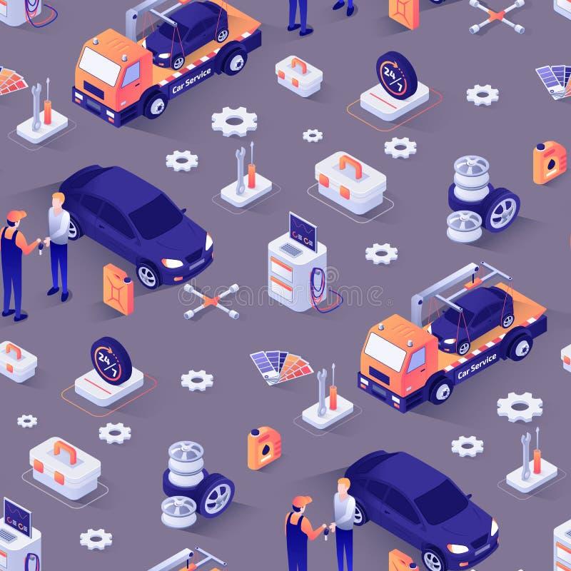 Teste padrão sem emenda com conceito do serviço de reparações do carro ilustração do vetor