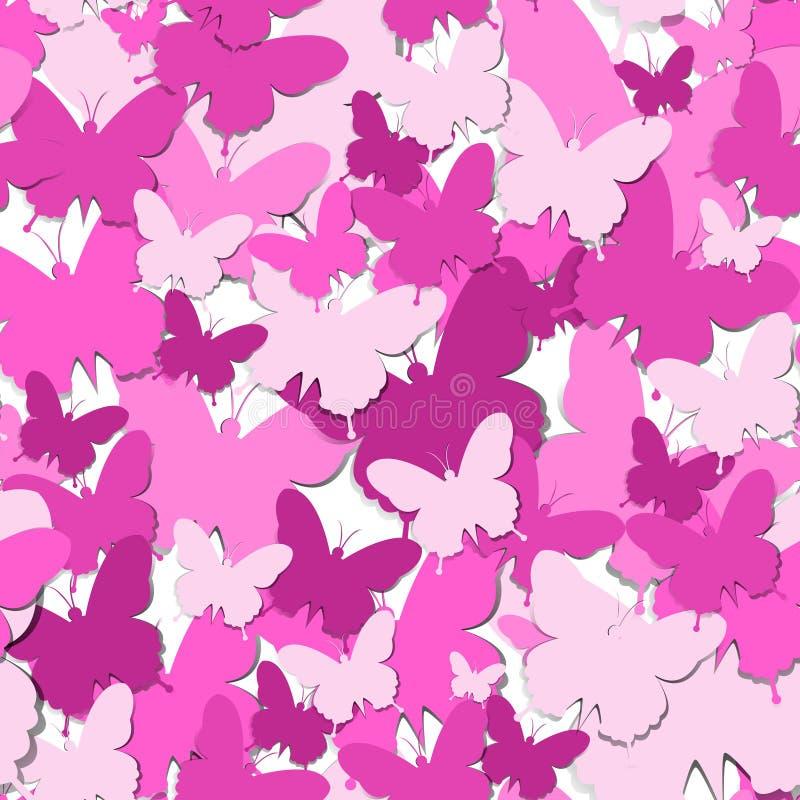 Teste padrão sem emenda com conceito feliz do dia das mulheres do fundo de papel cor-de-rosa do ornamento da borboleta ilustração do vetor