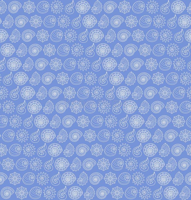 Teste padrão sem emenda com conchas do mar ilustração stock