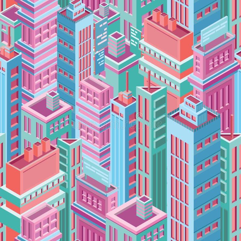 Teste padrão sem emenda com construções, os arranha-céus ou as torres isométricas altas da cidade da megalópole moderna Fundo com ilustração do vetor