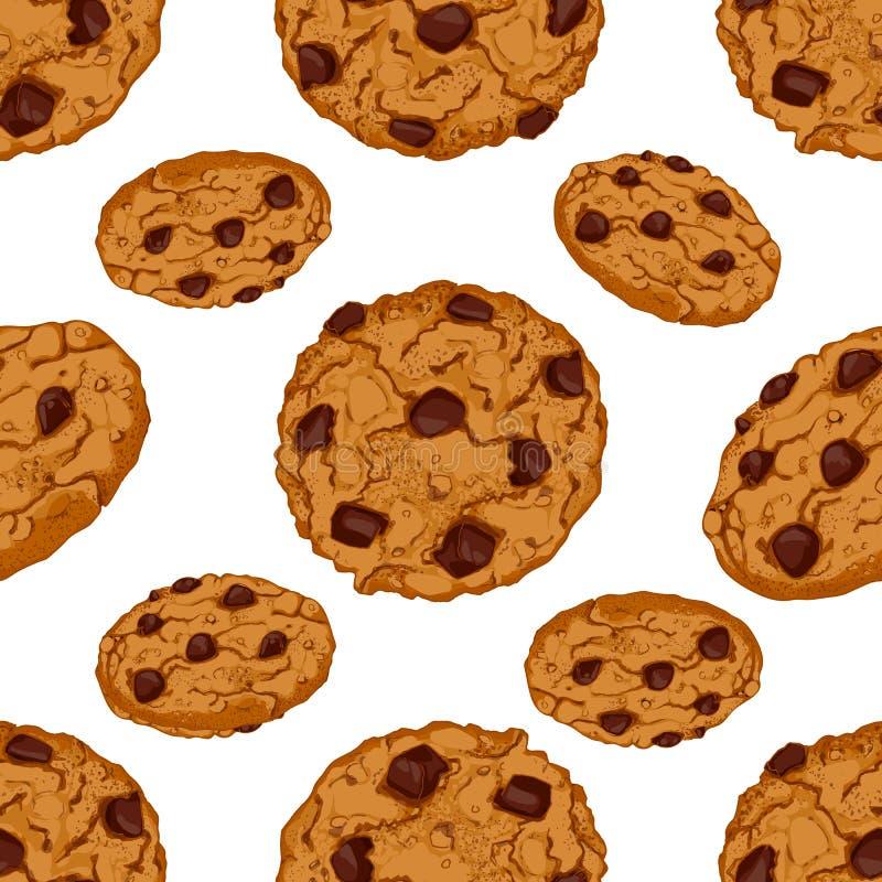 Teste padrão sem emenda com cookies dos pedaços de chocolate ilustração stock