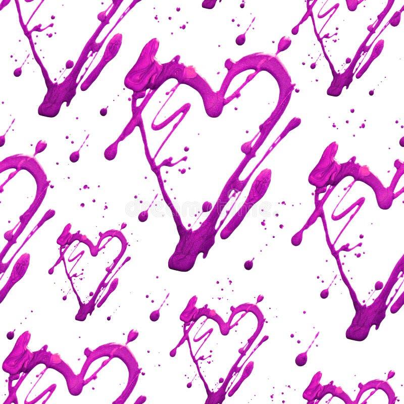 Teste padrão sem emenda com coração e pontos do brilho do brilho Manchas da tração do rosa do ouro Feito à mão Isolado no fundo b fotos de stock