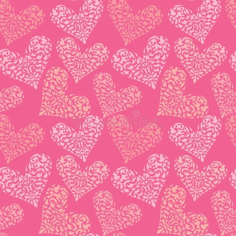 Teste padrão sem emenda com coração floral decorativo, ` feliz s do Valentim ilustração royalty free