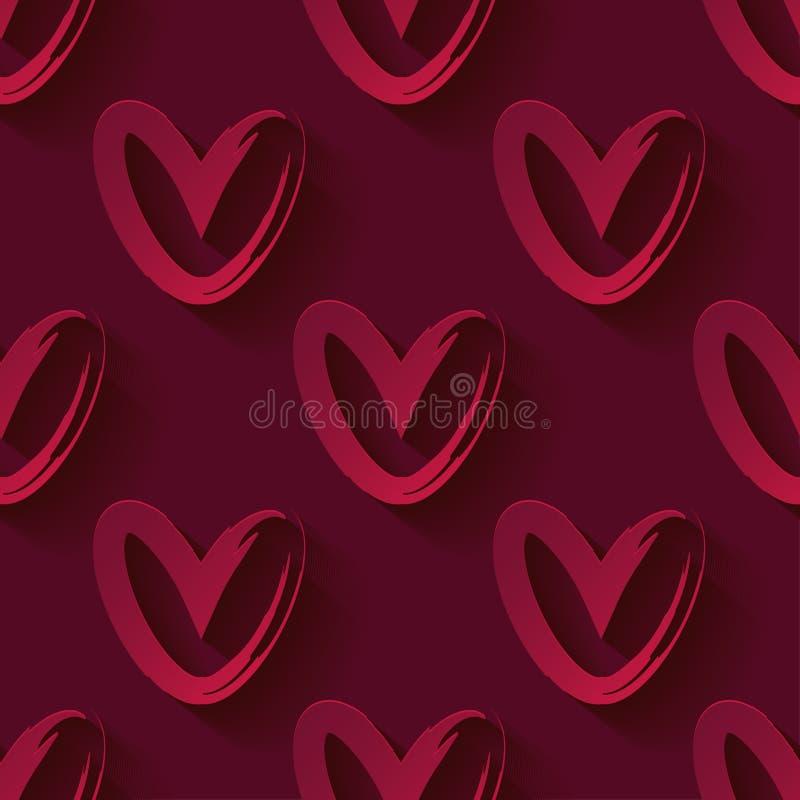 Teste padrão sem emenda com corações 3D vermelhos decorativos Corações vermelhos em um fundo vermelho Dia do `s do Valentim Ilust ilustração royalty free