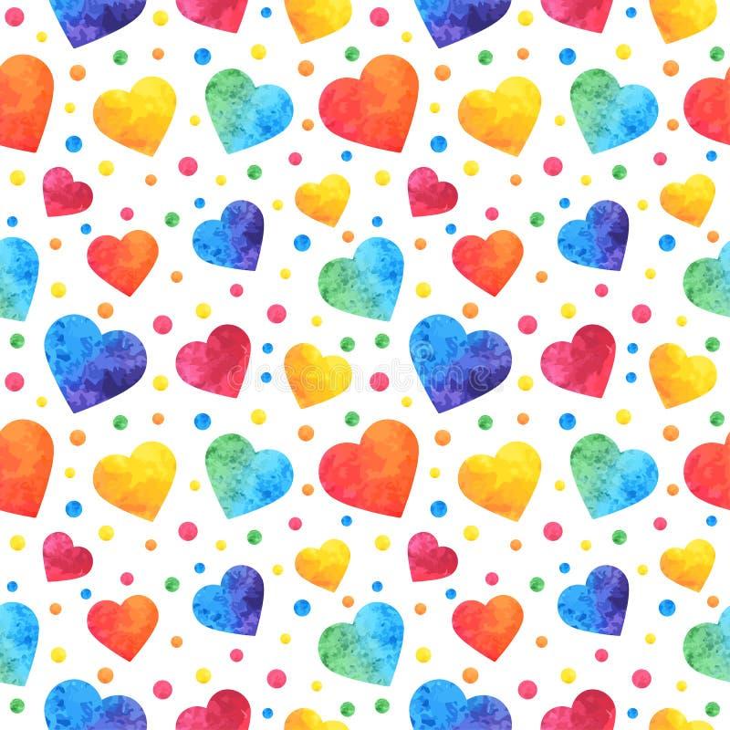 Teste padrão sem emenda com corações da aquarela, fundo do dia de Valentim, textura, envolvendo Vetor eps10 ilustração stock