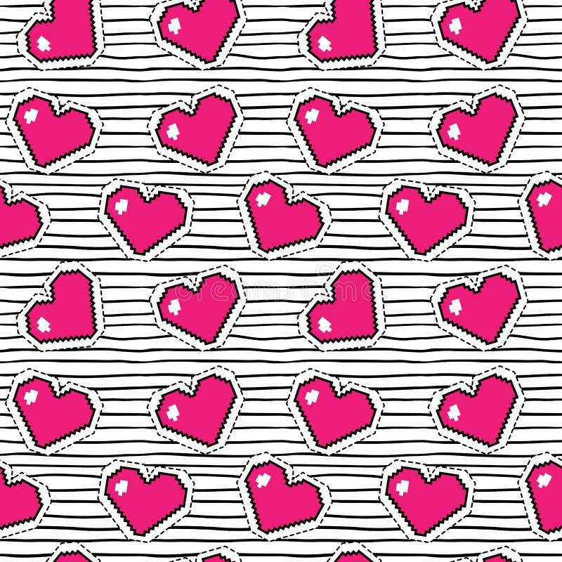 Teste padrão sem emenda com corações do pixel Fundo do vetor ilustração royalty free