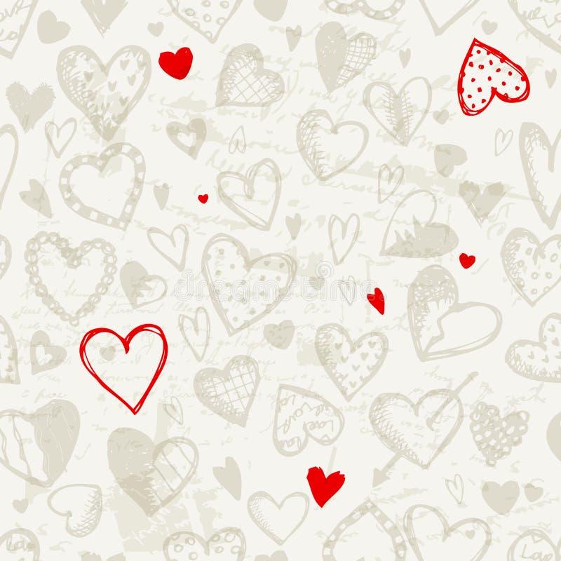 Teste padrão sem emenda com corações do Valentim ilustração royalty free