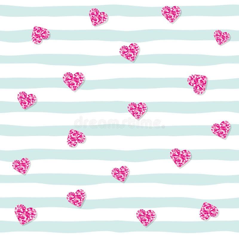 Teste padrão sem emenda com corações dos confetes do brilho em fundo listrado Rosa e cores na moda azuis pasteis Para o aniversár ilustração stock