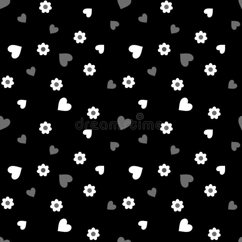 Teste padrão sem emenda com corações e as flores brancos e cinzentos em um preto fotos de stock