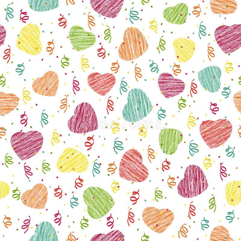Teste padrão sem emenda com corações e confetes cor-de-rosa Vagabundos de Valentine Day ilustração stock