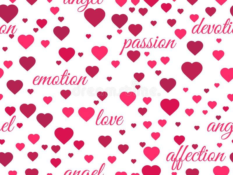 Teste padrão sem emenda com corações e palavras do amor Vetor ilustração do vetor