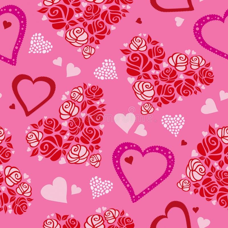 Teste padrão sem emenda com corações e rosas ilustração stock