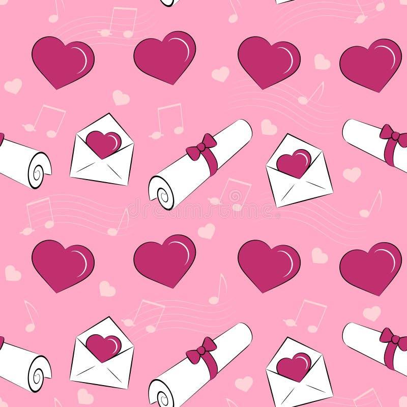 Teste padrão sem emenda com corações, letras, envelopes ilustração royalty free