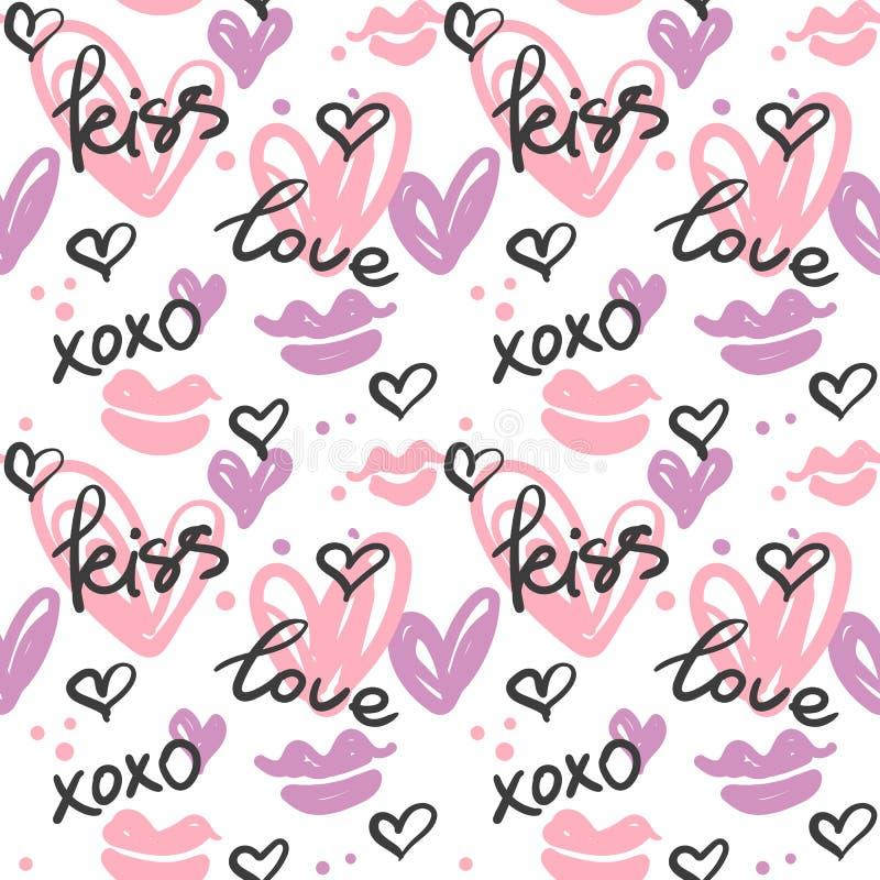 Teste padrão sem emenda com corações pintados à mão, beijos e palavras; amor, beijo, xoxo ilustração royalty free