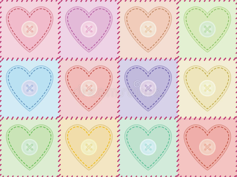 Teste padrão com corações sewed de feltro ilustração royalty free