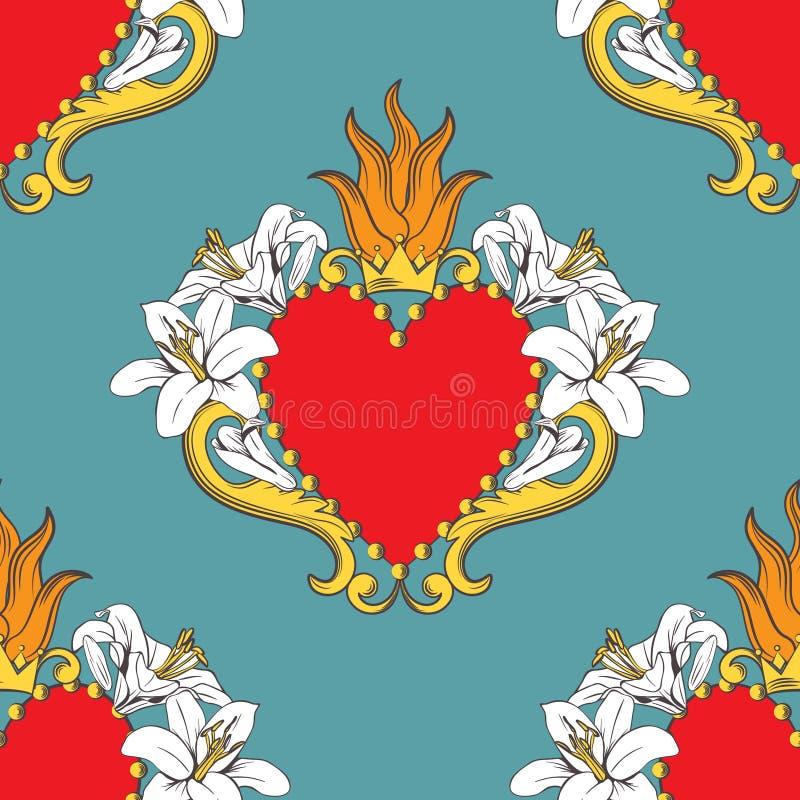 Teste padrão sem emenda com corações vermelhos decorativos bonitos com lírios, chama do damasco, coroa Ilustra??o do vetor ilustração stock
