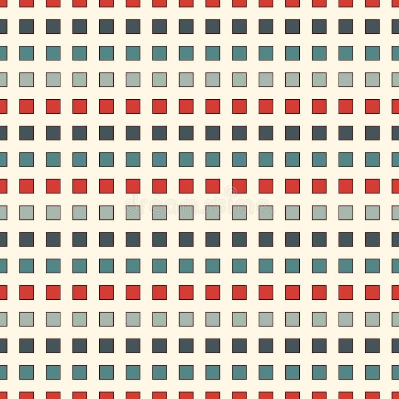 Teste padrão sem emenda com cores retros quadrados repetidos Linhas tracejadas horizontais fundo abstrato Papel de parede do mosa ilustração royalty free